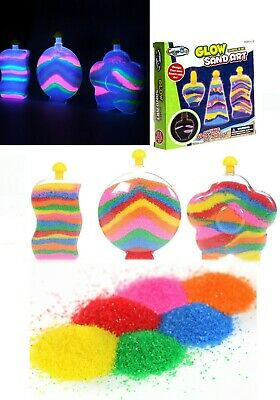 Glow In The Dark Colourful Glitter Sand Art &Crafts Room Decor With 3 Bottle Set