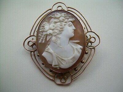 Antique Arts & Crafts 9ct Rose Gold Finely Carved Natural Shell Cameo Brooch.