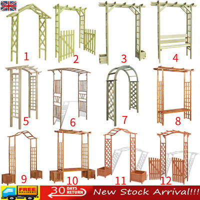 Wooden Garden Arch Gate Arbour Rose Pergola Archway Patio Climbing Plant