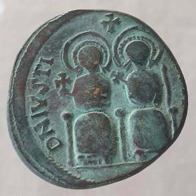 Byzantine Coin Justin Ii And Sophia Follis 565-578 Ad
