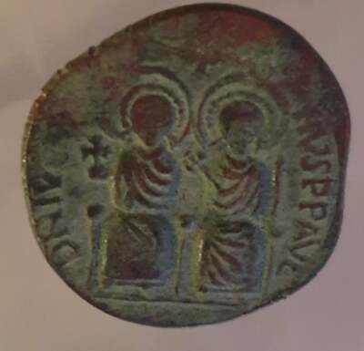Ancient Byzantine Coin Justin Ii And Sophia Follis 565-578 Ad