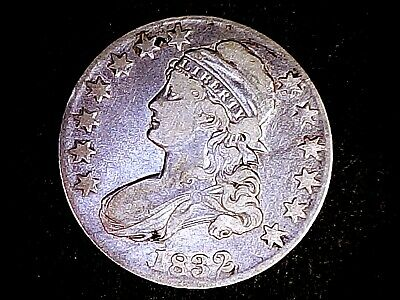 1832 Capped Bust Silver Half Dollar Lettered Edge Details Old Cleaning