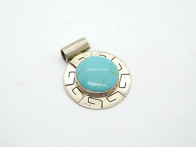 Vintage Taxco Mexico Argent Sterling Turquoise Grand Pendentif Glissière, 14.2g