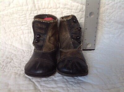 Antique victorian black/brown leather baby boots/shoes w/ buttons