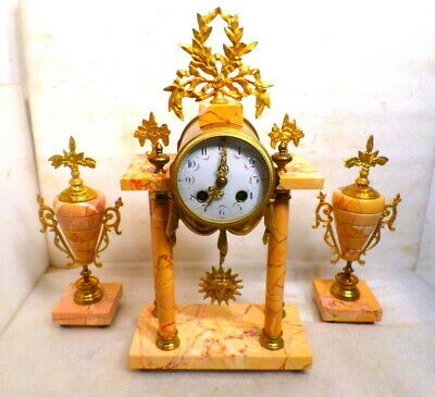 French 3 Piece Marble Free Swinging Portico Clock Set--1895--Marble Side Pieces