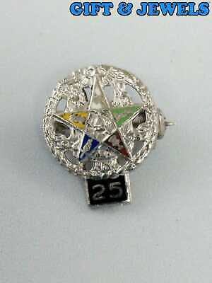 """T.M REG STERLING SILVER 925 """"25"""" VINTAGE PIN MULTI COLORED ENAMELS 1.2 G #be893"""