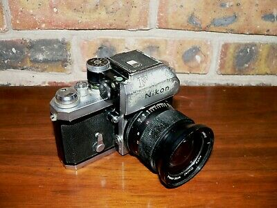 Nikon F SLR Camera w/Photomic Finder & 1:2.5, 28mm Vivitar Lens~Tested & Working