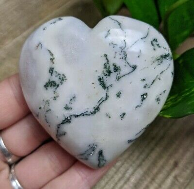 """2.5"""" TREE AGATE Puffy Heart H17 Crystal Stone Healing Reiki Charged 4.4oz"""