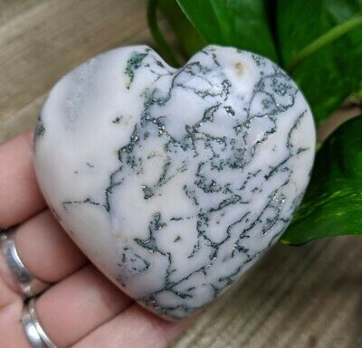 """2.4"""" TREE AGATE Puffy Heart H18 Crystal Stone Healing Reiki Charged 4.4oz"""