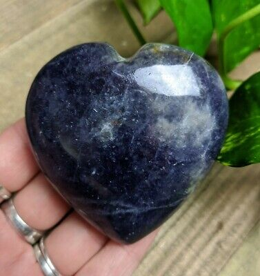 """2.6"""" IOLITE Puffy Heart G6 Crystal Stone Reiki Charged Healing 4.8oz"""
