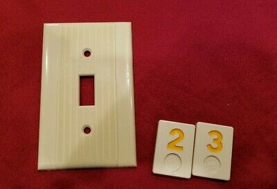 1 Ivory Vtg Ribbed Deco Single Gang Reliance Switch Cover Plate Bakelite - Y23