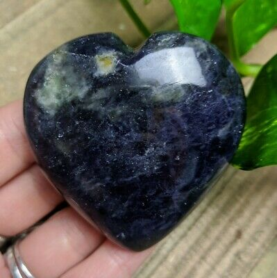 """2.3"""" IOLITE Puffy Heart G8 Crystal Stone Reiki Charged Healing 3.8oz"""