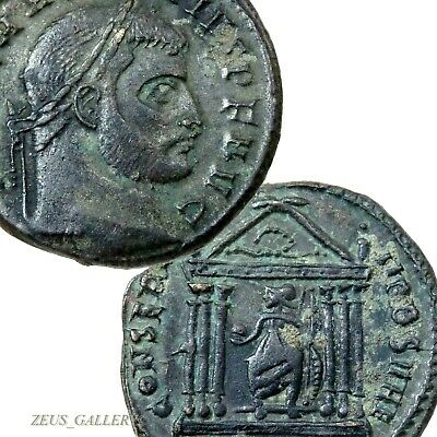 MAXENTIUS Roma Seated in TEMPLE Ancient Roman Empire Follis Coin XF Rome mint