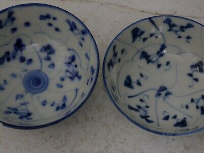 2 Very Beautiful Old Chinese Porcelain Bowls With Interesting Decoration Rare