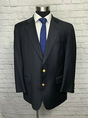 Brooks Brothers Ing Loro Piana Navy Blue Wool Gold Button Blazer Sport Coat 43R