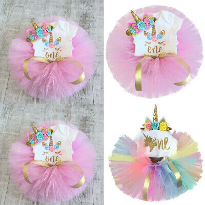 Newborn Kids Baby Girls 1st Floral Romper Tutu Unicorn Tulle Skirt Dress Outfits