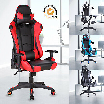 Executive Office Chair Racing Gaming Computer Chair Swivel Recliner PU Leather