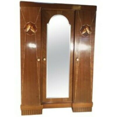MAGNIFICENT Antique ART DECO French Mahogany Double Mirrored Wardrobe c 1930