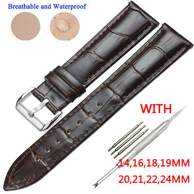 16-24 mm Mens Genuine Leather Watch Strap Brown Wristwatch Belt Band+Tools &Lugs