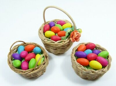 3 different Easter Baskets and 30 Eggs in 7 colors  for your Dollhouse 1:12