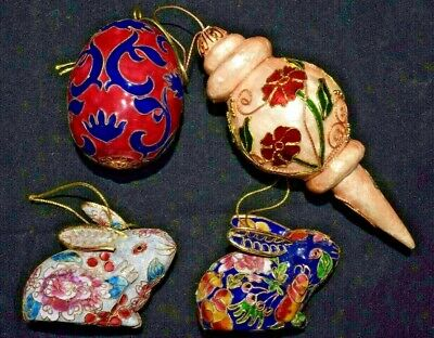 Lot of 4 Cloisonne Christmas Tree Ornament Bunny Rabbits, Egg, More