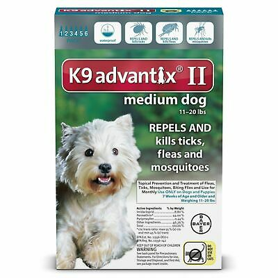 6pk Bayer K9 Advantix II Tick Mosquito Prevention for Medium Dogs USEPA Approved