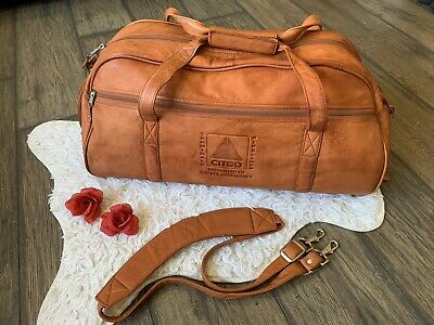 RARE Gorgeous Canyon Outback Golden Brown Leather Duffel, Travel, Corgi Logo