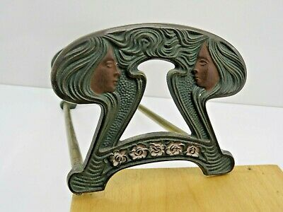 Antique Art Nouveau Expandable Bookends Floral Lady's Figural Brass Patina NR!
