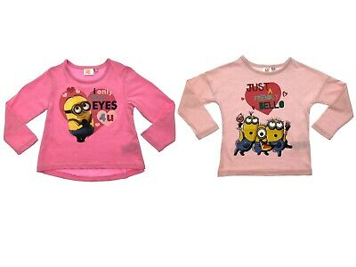 Minions Girls Pink T-Shirt Kids Despicable Me 100% Cotton Long Sleeved Tee Top