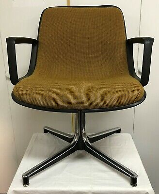 Herman Miller Eames Style Fiberglass Shell Tweed Chrome Arm Lounge Chair MCM