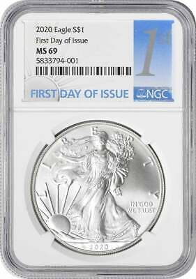 2020 American Silver Eagle MS69 Dollar First Day of Issue NGC