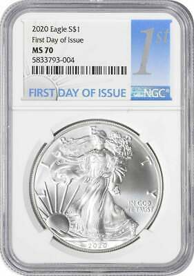 2020 American Silver Eagle Dollar MS70 First Day of Issue NGC
