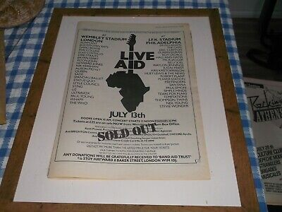 Live Aid  On The Day Poster (Read Description )Original Poster  1985 Framing