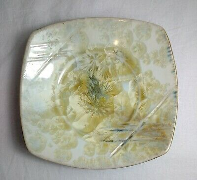 """Kent Follette Art Pottery Yellow Crystallized Glazed Dish Plate 6"""" Square Signed"""