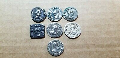Lot of 7 Indo-Greek silver Ancient coins Menander, Baktria, Various Drachms