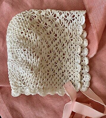 sweet antique crocheted baby bonnet, small size, snowflake pattern, pink ribbons