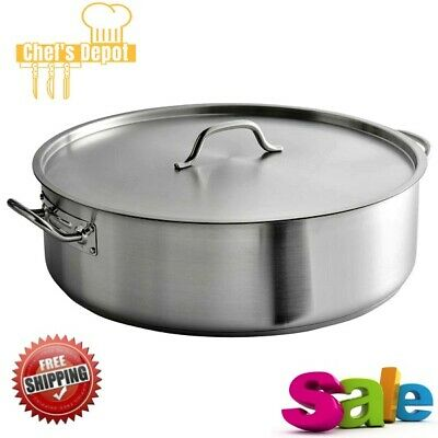 30 Quart Stainless Steel Aluminum Clad Heavy Duty Brazier Round Silver Cover