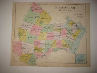 Antique 1892 Rockingham County New Hampshire Map Rye Isles Of Shoals Portsmouth