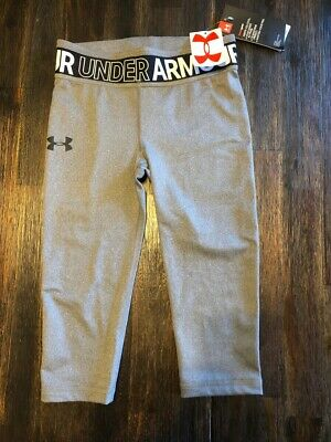 Nwt Ua Under Armour Gray Heat Gear Capri Leggins Fitted Girls S Small 1322624