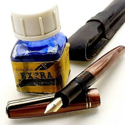 Vintage fountain pen MARBLE styl piston filler 1960's w case ink bottle Hungary