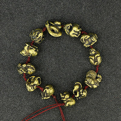 China Antique Collection Brass 12 Zodiac Red Rope Bracelet Accessories a405
