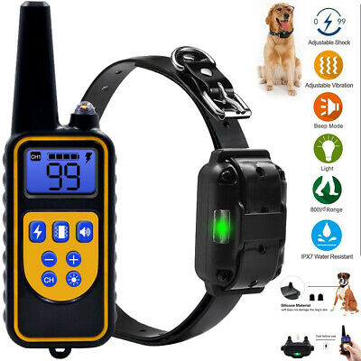 Pet Dog Training Collar Waterproof Electric Shock Rechargeable Remote 875 Yard
