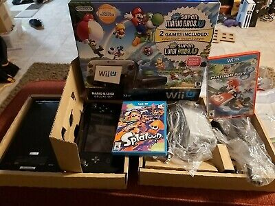 Nintendo Wii U Mario Deluxe Bundle Console In box CIB TESTED SPLATOON MARIO KART