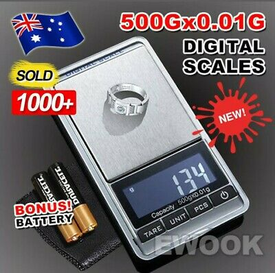 Premium 500g 0.01 DIGITAL POCKET SCALES JEWELLERY ELECTRONIC milligram micro mg