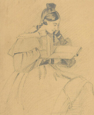 19th Century Graphite Drawing - Portrait of a Victorian Lady