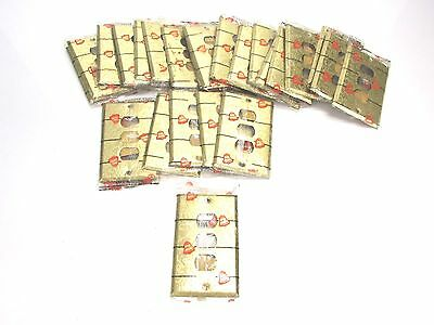 NOS! LOT of (26) BELL INTERCHANGE 1-GANG ANTIQUE GOLD FINISH WALL PLATE, 3-HOLE