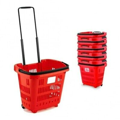 Supermarket Plastic Shopping Trolley  Basket Red