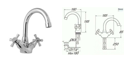 Deva Milan 113//SW Milan Mono Basin Mixer Tap with Swivel Spout and Pop Up Waste with Chrome Finish