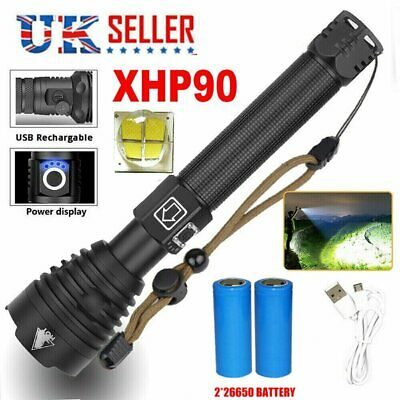 UK Ultra Bright xhp90 most powerful led 26650 flashlight Zoom torch rechargeable
