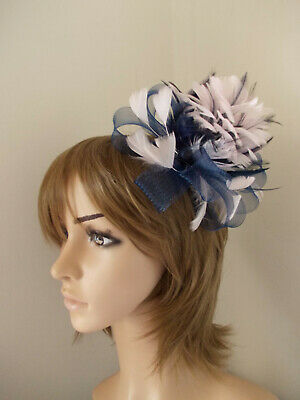 Navy Blue & Pale Pink Looped fascinator feathers hair clip brooch